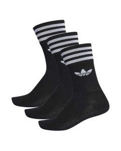 Shop adidas Originals Trefoil 3 Stripe Crew Socks 3 Pack Black White at Side Step Online