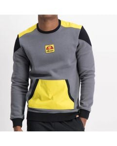 Shop ellesse Colorblock Sweat Top Mens Charcoal Yellow at Side Step Online
