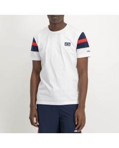 Shop ellesse Sleeve Panel T-shirt Mens White Dress Blue Red at Side Step Online