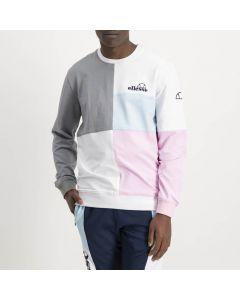 Shop ellesse Colour Block Sweat Top Mens Drizzle White Pink at Side Step Online