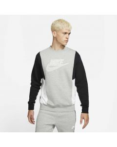 Shop Nike Hybrid Fleece Crew Sweater Men Heather Grey Black White at Side Step Online