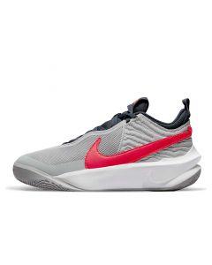 Shop Nike Team Hustle D10 Youth Sneaker Grey Crimson at Side Step Online