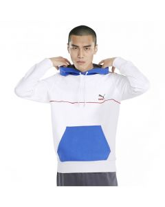 Shop Puma CLSX Piped Hoodie Mens White at Side Step Online